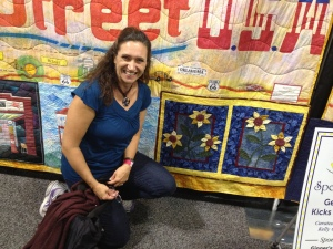 Gina's quilt in the national traveling quilt exhibition of Route 66. This is at Road to California.